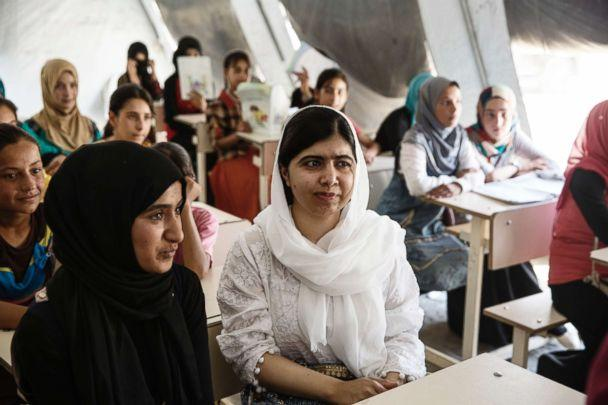 PHOTO: In 2017, Malala Yousafzai visited a camp in Mosul for internally displaced persons where she was hosted by 13-year-old Nayir. (Malin Fezehai / Malala Fund)