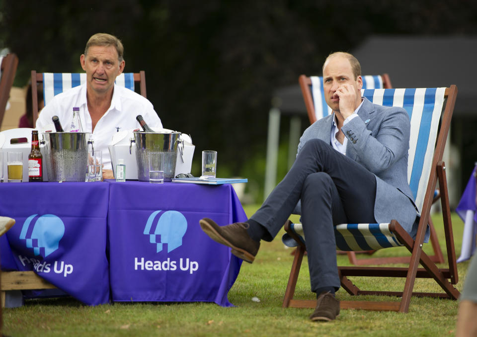 KING'S LYNN, ENGLAND - AUGUST 01: Prince William, Duke of Cambridge watches as Chelsea score with former Arsenal player Tony Adams as he hosts an outdoor screening of the Heads Up FA Cup final on the Sandringham Estate on August 1, 2020 in King's Lynn, England. (Photo by Tim Merry - WPA Pool/Getty Images)