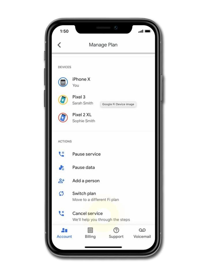 Cancelling Google Fi via the iPhone or Android app follows a similar process.