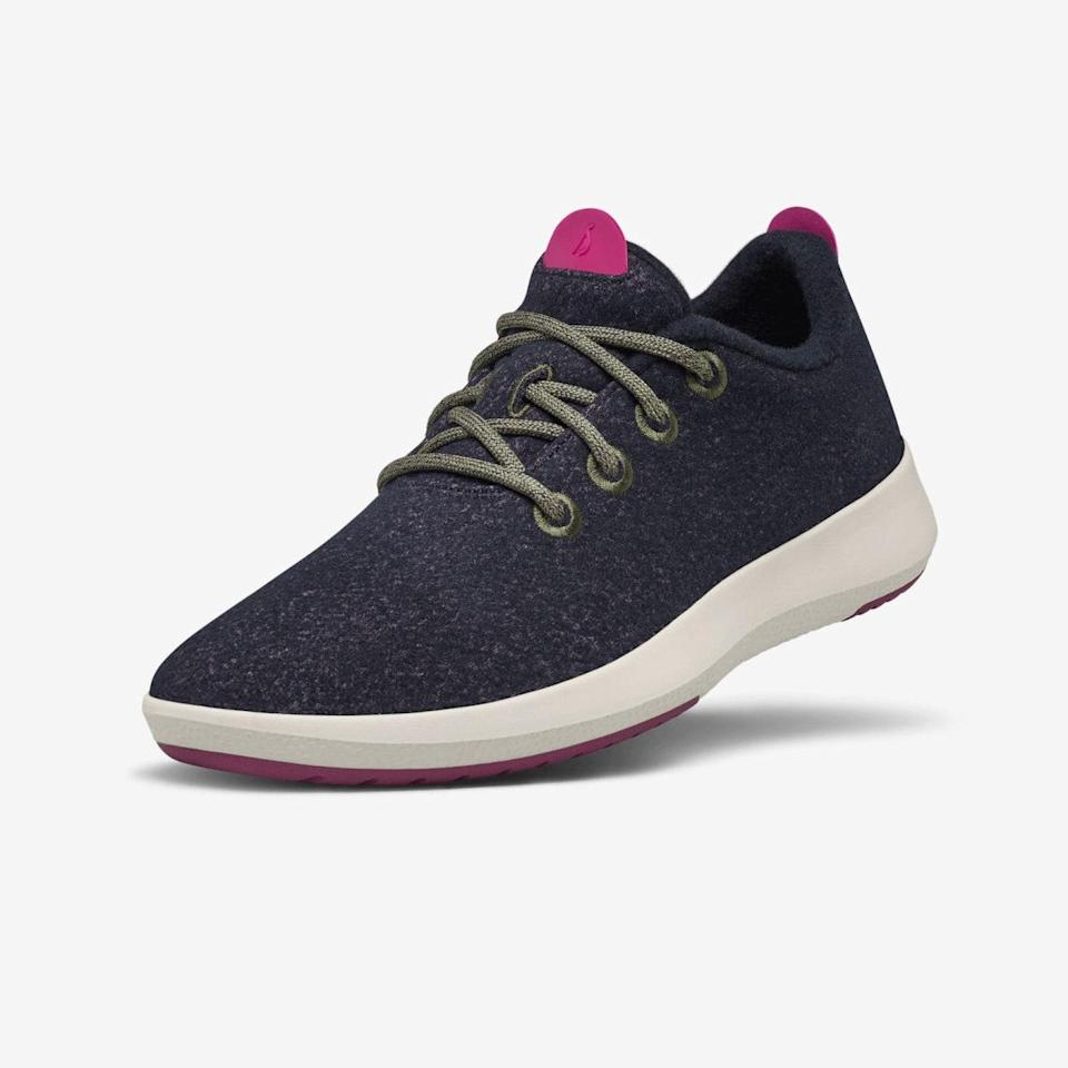 "Made from responsibly sourced merino wool and recycled polyester, <a href=""https://www.glamour.com/story/allbirds-runner-sneaker-review?mbid=synd_yahoo_rss"" rel=""nofollow noopener"" target=""_blank"" data-ylk=""slk:Allbirds"" class=""link rapid-noclick-resp"">Allbirds</a> are a great gift for <a href=""https://www.glamour.com/gallery/gifts-for-boyfriends?mbid=synd_yahoo_rss"" rel=""nofollow noopener"" target=""_blank"" data-ylk=""slk:your eco-minded partner"" class=""link rapid-noclick-resp"">your eco-minded partner</a> who walks everywhere. $115, Allbirds. <a href=""https://www.allbirds.com/products/womens-wool-runner-mizzles-nebula"" rel=""nofollow noopener"" target=""_blank"" data-ylk=""slk:Get it now!"" class=""link rapid-noclick-resp"">Get it now!</a>"