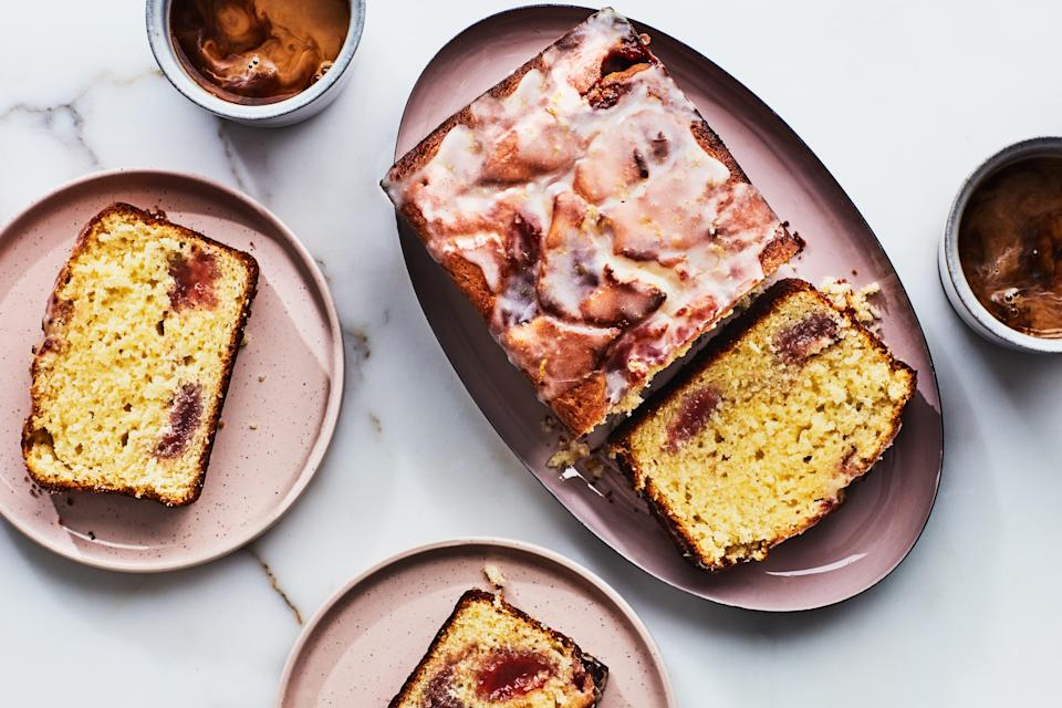 """This lemony, wonderfully herbal cake is studded with pockets of strawberry jam, which both keeps the cake moist and adds pops of bright, springy flavor. <a href=""""https://www.epicurious.com/recipes/food/views/herb-infused-lemon-strawberry-loaf?mbid=synd_yahoo_rss"""" rel=""""nofollow noopener"""" target=""""_blank"""" data-ylk=""""slk:See recipe."""" class=""""link rapid-noclick-resp"""">See recipe.</a>"""