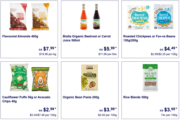 Health foods on sale as Special Buys at Aldi.