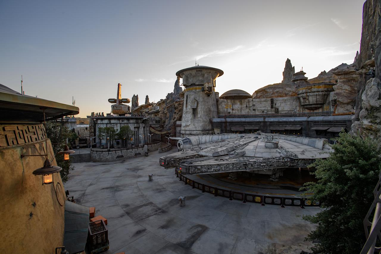 The Millennium Falcon is docked on Batuu, where it hosts the interactive attraction Smugglers Run. (Photo: Richard Harbaugh/Disney Parks)