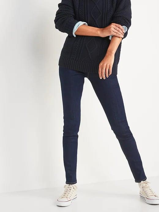 <p>These <span>Old Navy Adjustable Waist Dark-Wash Super Skinny Jeggings</span> ($25, originally $30) can be left a little lower like mid-rise, or pulled all the way up as high-rise, depending on your top and taste.</p>