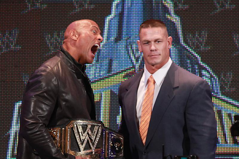 NEW YORK, NY - APRIL 04: The Rock and John Cena attend the WrestleMania 29 Press Conference at Radio City Music Hall on April 4, 2013 in New York City. (Photo by Taylor Hill/Getty Images)
