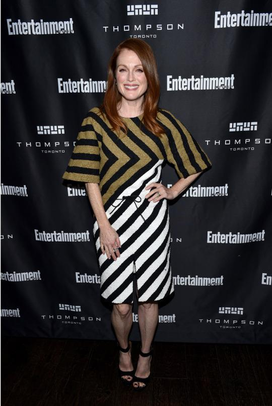 <p>Julianne Moore mixed and matched in a geometric patterned dress from Sonia Rykiel at EW's Must List Party during the 2015 Toronto International Film Festival.</p>