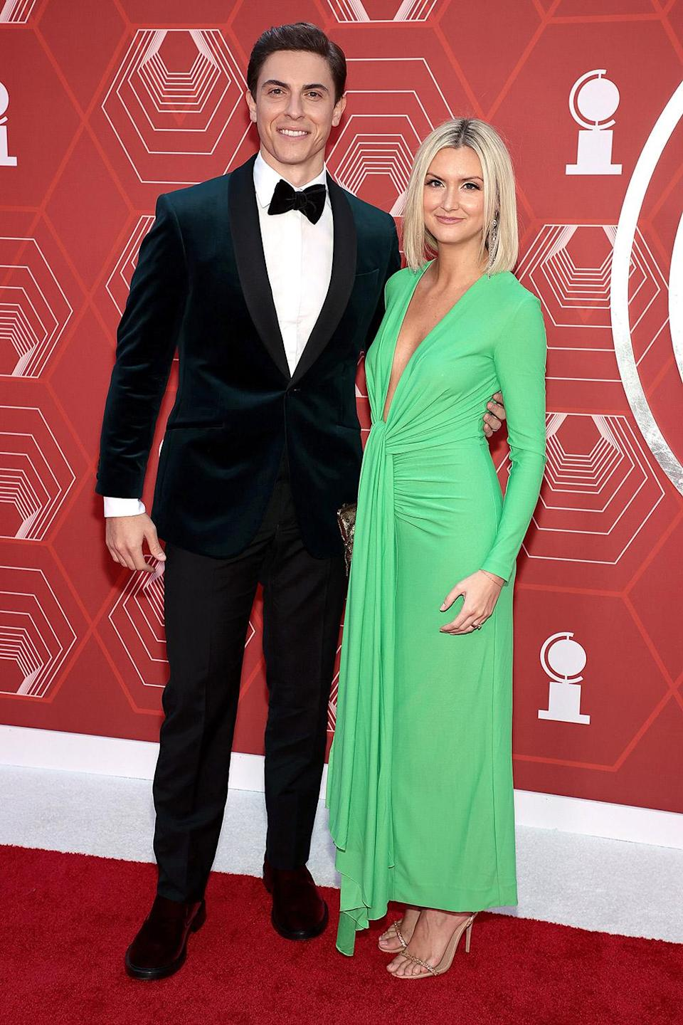<p>Derek Klene walks the red carpet with wife Elycia Scriven. Klena is nominated for nominated for best featured actor in a musical for his performance in <em>Jagged Little Pill.</em> </p>