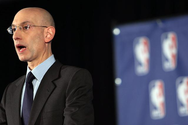 NEW YORK, NY - APRIL 29: NBA Commissioner Adam Silver addresses the media about the investigation involving Los Angeles Clippers owner Donald Sterling and accusations that he made racist remarks to a girlfriend on April 29, 2014 in New York City. Sterling, a billionaire, will be banned for life in the NBA. Sterling has a controversial history in racially charged Los Angles with previous accusations of racism tempered by philanthropic work in inner city neighborhoods. (Photo by Spencer Platt/Getty Images)