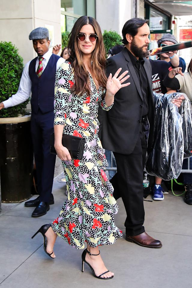 <p><span>Sandra Bullock employed a British label (and one of our favourites) to dress her for the 'Oceans 8' press conference: Rixo, who specialise in gorgeous printed dresses. [Photo: Getty]</span> </p>