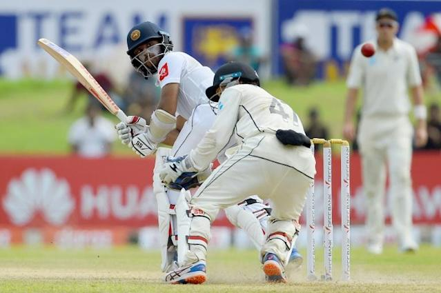 Kusal Mendis scored his 10th Test half-century against New Zealand at Galle (AFP Photo/ISHARA S. KODIKARA)