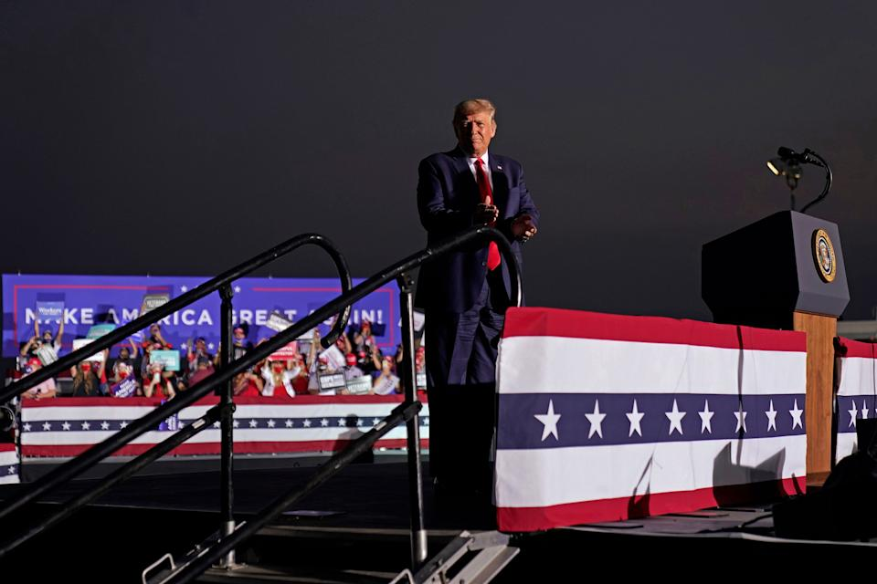 President Donald Trump arrives to speak at a rally at Minden-Tahoe Airport in Minden, Nevada, on Sept. 12. (Photo: ASSOCIATED PRESS)