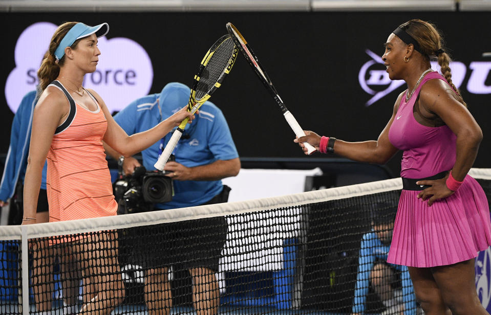 United States' Serena Williams, right, is congratulated by compatriot Danielle Collins following their match at a tuneup event ahead of the Australian Open tennis championships in Melbourne, Australia, Friday, Feb. 5, 2021.(AP Photo/Andy Brownbill)