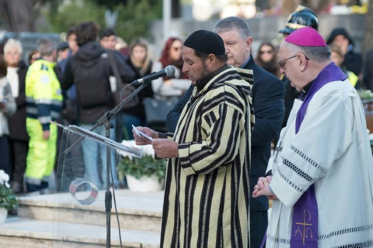 Imam Abderrhmane Es Sbaa and Archbishop Luigi Moretti lead the funeral service for the 26 migrant girls and women