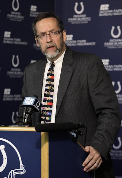 Dr. Larry Cripe talks during an NFL football news conference, Monday, Oct. 1, 2012, in Indianapolis, about the treatment and outlook for his patient, Indianapolis Colts head coach Chuck Pagano, who has been diagnosed with acute promyelocytic leukemia. (AP Photo/Michael Conroy)