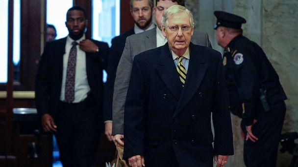 PHOTO: Senate Majority Leader Mitch McConnell, (R-KY), arrives at the U.S. Capitol for the Senate impeachment trial of President Donald Trump, Jan. 27, 2020. (Mary F. Calvert/Reuters)