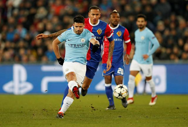 Soccer Football - Champions League - Basel vs Manchester City - St. Jakob-Park, Basel, Switzerland - February 13, 2018 Manchester City's Sergio Aguero scores their third goal Action Images via Reuters/Andrew Boyers