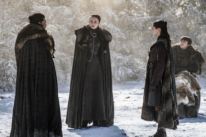 The surviving Stark siblings discuss what's in store for their House after the Battle of Winterfell (Photo: Helen Sloan/HBO)