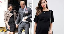 """<p>After a swift outfit change, the Duchess touched down in New Zealand wearing a £35 maternity dress by ASOS. She finished the look with a plaid Karen Walker trench which has since sold out. <a rel=""""nofollow noopener"""" href=""""https://www.asos.com/asos-maternity/asos-design-maternity-wiggle-mini-dress/prd/10415635?clr=black&SearchQuery=asos%20design%20maternity%20wiggle%20dress&gridcolumn=1&gridrow=1&gridsize=4&pge=1&pgesize=72&totalstyles=4"""" target=""""_blank"""" data-ylk=""""slk:Shop now"""" class=""""link rapid-noclick-resp"""">Shop now</a>. <em>[Photo: Getty]</em> </p>"""