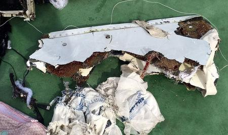 Recovered debris of the EgyptAir jet that crashed in the Mediterranean Sea is seen in this handout image released May 21, 2016 by Egypt's military. Egyptian Military/Handout via Reuters