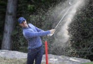 Rory McIlroy plays a shot from a bunker on the second hole during fourth round play at the Dell Technologies Match Play Championship golf tournament, Saturday, March 30, 2019, in Austin, Texas. (AP Photo/Eric Gay)