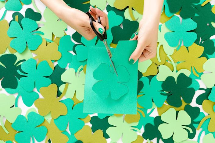"""<p>Anyone who loves to break out festive crafts for every holiday will want to get their hands on these cute, easy DIY St. Patrick's Day crafts. Celebrate the day with these creative ideas that incorporate all things green, gold, and rainbow-hued. Best of all, there are tons of crafts for kids as well as adults, so you and your little ones can get going with cheerful <a href=""""https://www.thepioneerwoman.com/home-lifestyle/crafts-diy/g34931626/st-patricks-day-decorations/"""" rel=""""nofollow noopener"""" target=""""_blank"""" data-ylk=""""slk:St. Patrick's Day decorations"""" class=""""link rapid-noclick-resp"""">St. Patrick's Day decorations</a> to decorate your home. What better <a href=""""https://www.thepioneerwoman.com/holidays-celebrations/a35203099/when-is-st-patricks-day/"""" rel=""""nofollow noopener"""" target=""""_blank"""" data-ylk=""""slk:St. Patrick's Day"""" class=""""link rapid-noclick-resp"""">St. Patrick's Day</a> activities can you ask for than an afternoon spent crafting, followed by watching an <a href=""""https://www.thepioneerwoman.com/news-entertainment/g35191121/best-irish-movies/"""" rel=""""nofollow noopener"""" target=""""_blank"""" data-ylk=""""slk:Irish movie"""" class=""""link rapid-noclick-resp"""">Irish movie</a> and listening to a few <a href=""""https://www.thepioneerwoman.com/news-entertainment/g35281854/best-irish-songs/"""" rel=""""nofollow noopener"""" target=""""_blank"""" data-ylk=""""slk:Irish songs"""" class=""""link rapid-noclick-resp"""">Irish songs</a>?</p><p>If you're looking for crafty ideas that will double as cute St. Paddy's décor, take a look at the adorable felt leprechaun doll or the clover mini planters. Any beginners will love the easy-peasy crocheted clover! Are you after some ideas to try with your kids? Check out the gorgeous faux-stained glass project and the green, glimmering """"slime""""—a little messy play never hurt anyone! It's the perfect way to pass the time while letting your <a href=""""https://www.thepioneerwoman.com/food-cooking/meals-menus/g35325053/traditional-irish-food-dishes/"""" rel=""""nofollow noopener"""" target=""""_blan"""