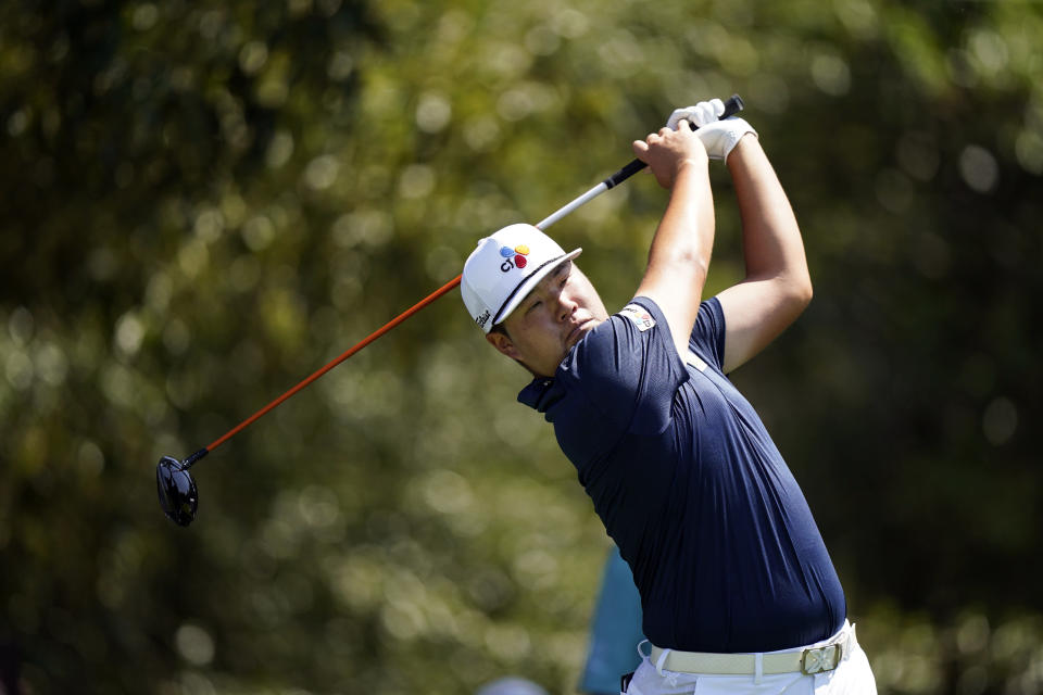 Sungjae Imm of South Korea, hits from the third tee during the third round of the Tour Championship golf tournament Saturday, Sept. 4, 2021, at East Lake Golf Club in Atlanta. (AP Photo/Brynn Anderson)