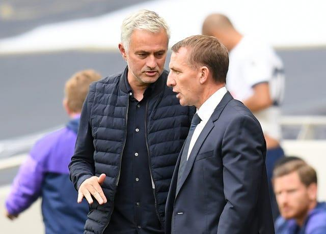 Brendan Rodgers, right, could replace his friend Jose Mourinho at Spurs