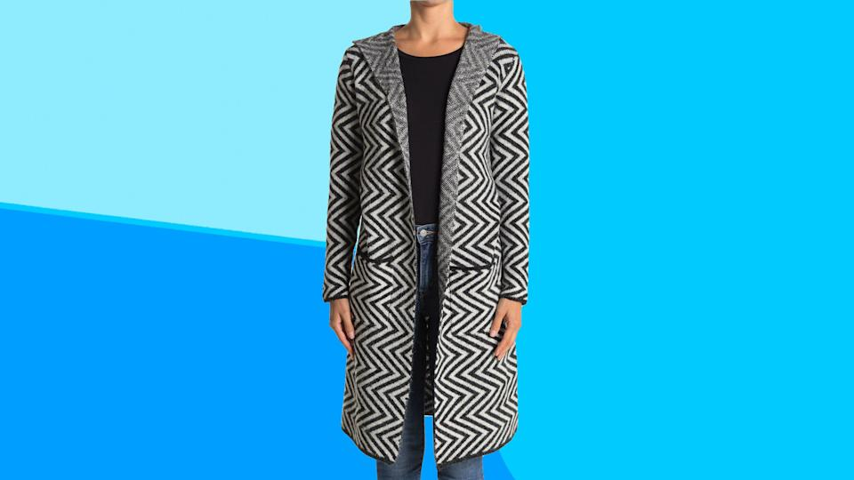 This cozy cardigan has a hood to keep you warm and stylish all fall long.