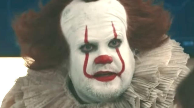 "James Corden's hilarious ""It"" parody is something to be scared silly by."