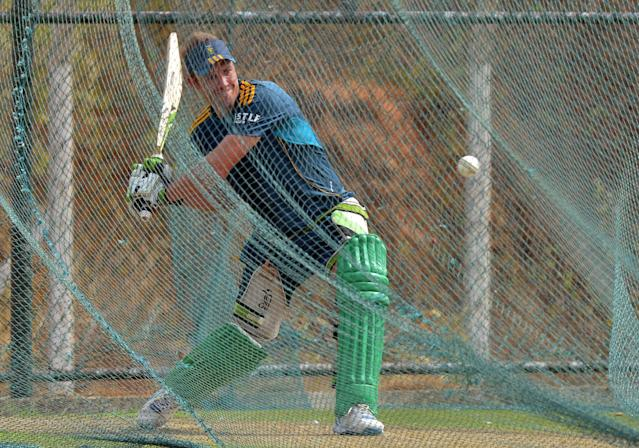 South African captain AB de Villiers plays a shot during a practice session at the Mahinda Rajapaksa International Cricket Stadium in Hambantota on July 11, 2014 (AFP Photo/Ishara S.Kodikara)
