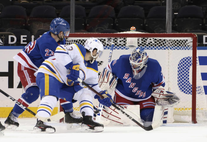 New York Rangers' Igor Shesterkin goalie defends against Buffalo Sabres' Tobias Rieder (13) during the second period of an NHL hockey game Tuesday, March 2, 2021, in New York. (Bruce Bennett/Pool Photo via AP)