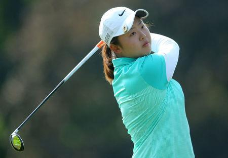 FILE PHOTO: Jun 12, 2015; Harrison, NY, USA; Simin Feng of China drives off the No.10 tee during the second round of the KPMG Women's PGA Championship at Westchester Country Club - West. Mandatory Credit: Brad Penner-USA TODAY Sports/File Photo