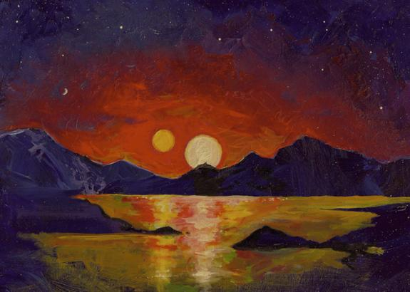 In this acrylic painting, University of Utah astrophysicist Ben Bromley envisions the view of a double sunset from an uninhabited Earthlike planet orbiting a pair of binary stars.
