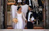 <p><b>Prince Carl Philip and Princess Sofia, both of Sweden, make their exit from the Royal Palace in Stockholm, Sweden, in 2015. (Photo: Getty Images) </b></p>