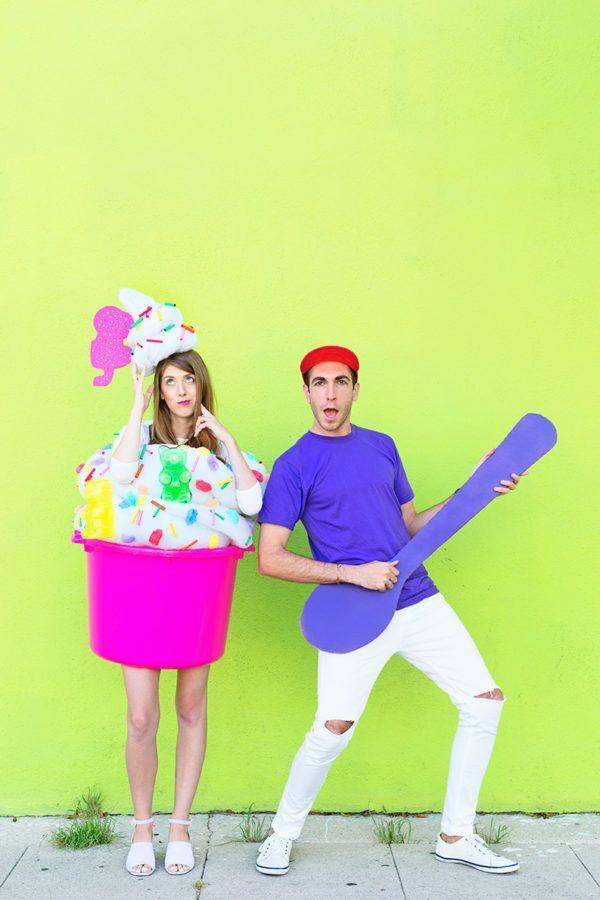 """<p>This gives a whole new meaning to """"big spoon."""" Show the world just how devoted you are to your favorite dessert with this cheeky couple's costume. </p><p><strong>Get the tutorial at <a href=""""https://studiodiy.com/2018/10/05/22-diy-group-couple-halloween-costumes/"""" rel=""""nofollow noopener"""" target=""""_blank"""" data-ylk=""""slk:Studio DIY"""" class=""""link rapid-noclick-resp"""">Studio DIY</a>. </strong><br></p><p><a class=""""link rapid-noclick-resp"""" href=""""https://www.amazon.com/Rainbow-Sprinkles-Cream-Costume-Shirt/dp/B07HKVN4DN?tag=syn-yahoo-20&ascsubtag=%5Bartid%7C10050.g.4616%5Bsrc%7Cyahoo-us"""" rel=""""nofollow noopener"""" target=""""_blank"""" data-ylk=""""slk:SHOP SPRINKLES SHIRTS"""">SHOP SPRINKLES SHIRTS</a></p>"""