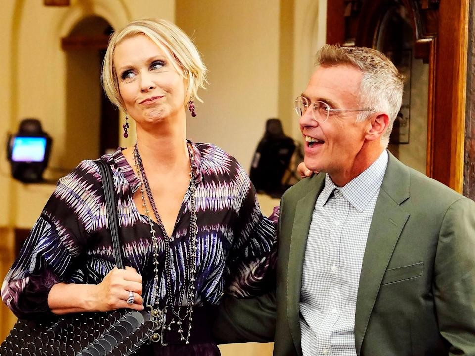 """Cynthia Nixon and David Eigenberg are seen filming """"And Just Like That..."""" in New York City."""