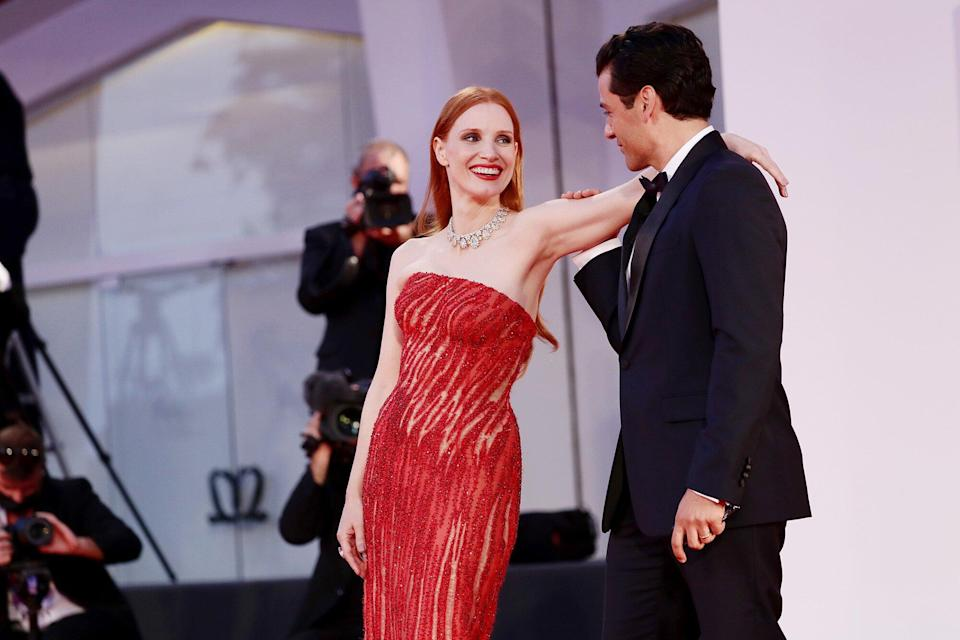 """Jessica Chastain and Oscar Isaac attend the red carpet of the movie """"Competencia Oficial"""" during the 78th Venice International Film Festival on September 04, 2021 in Venice, Italy."""
