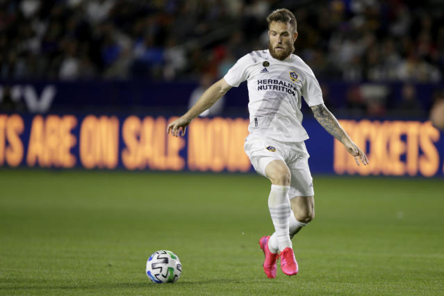LA Galaxy forward Aleksandar Katai was released following racist social media posts by his wife. (AP Photo/Alex Gallardo)