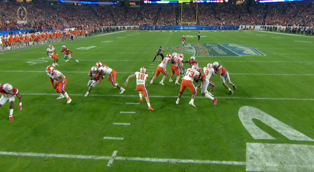 A big block from Clemson left guard John Simpson (No. 74) opened a huge hole for Trevor Lawrence (via ESPN).