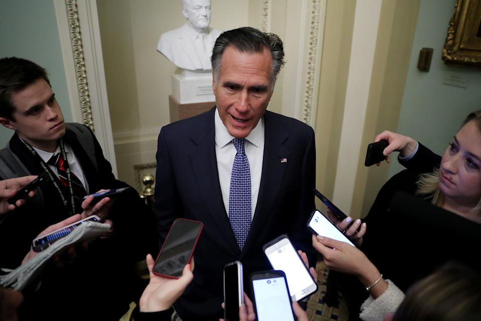 WASHINGTON, DC - JANUARY 21: Sen. Mitt Romney (R-UT) talks to reporters before heading into the weekly Senate Republican policy luncheon at the U.S. Capitol January 21, 2020 in Washington, DC. Senators will vote Tuesday on the rules for President Donald Trump's impeachment trial, which is expected to last three to five weeks. (Photo by Chip Somodevilla/Getty Images)