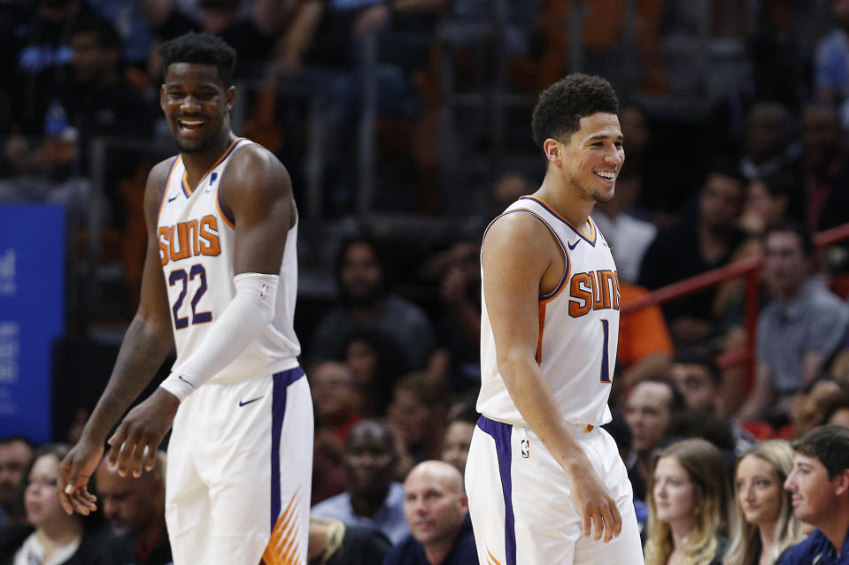 The Suns have limited high-end options beyond DeAndre Ayton and Devin Booker. (Michael Reaves/Getty Images)