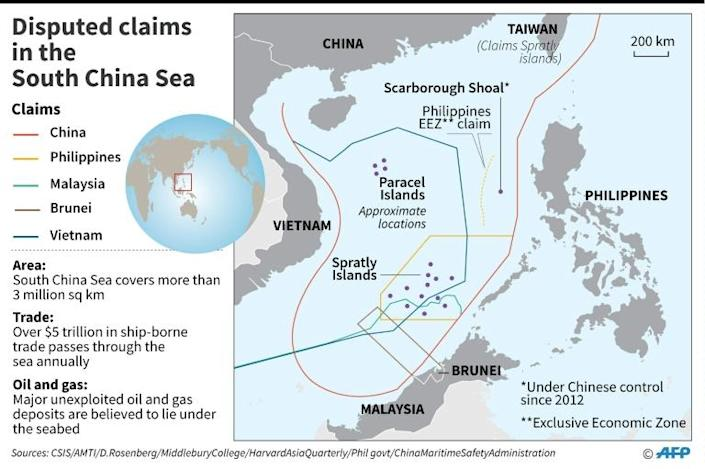 Map showing disputed claims in the South China Sea. (AFP Photo/)