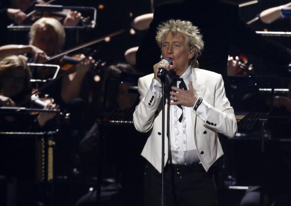 Rod Stewart performs on stage at the Brit Awards 2020 in London, Tuesday, Feb. 18, 2020. (Photo by Joel C Ryan/Invision/AP)