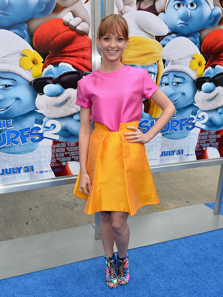 """WESTWOOD, CA - JULY 28:  Actress Jayma Mays attends the premiere Of Columbia Pictures' """"Smurfs 2"""" at Regency Village Theatre on July 28, 2013 in Westwood, California.  (Photo by Alberto E. Rodriguez/Getty Images)"""