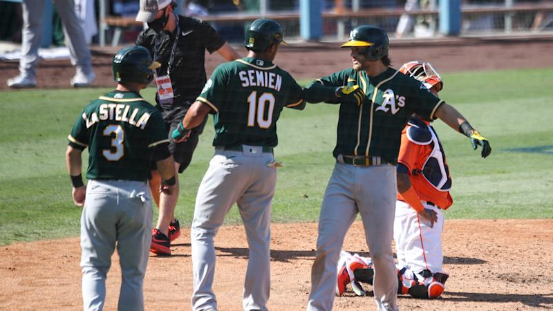 Chad Pinder's clutch homer helps A's infield make MLB playoff history