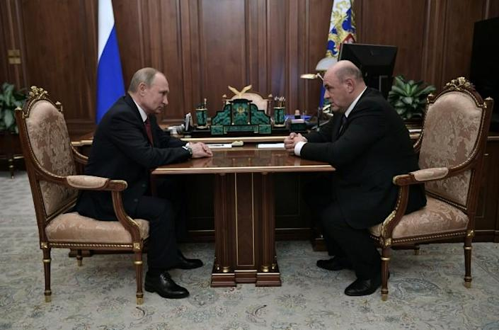 Russian President Putin attends a meeting with head of the Federal Taxation Service Mishustin in Moscow