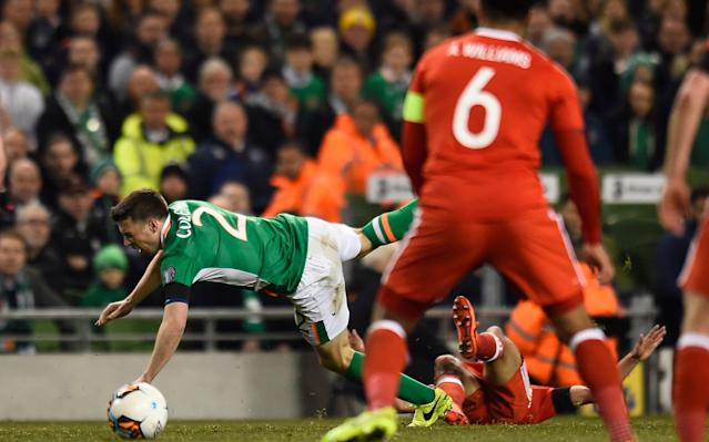 <span>Seamus Coleman is fouled by Neil Taylor</span> <span>Credit: REUTERS </span>