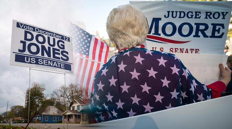Campaign signs on display in Montgomery, Ala. (Photo illustration: Yahoo News; photos: Drew Angerer/Getty Images)