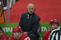 Detroit Red Wings head coach Jeff Blashill watches against the Carolina Hurricanes in the first period of an NHL hockey game Saturday, Jan. 16, 2021, in Detroit. (AP Photo/Paul Sancya)