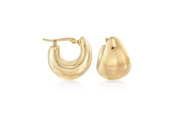 """<strong><a href=""""https://www.ross-simons.com/14kt-yellow-gold-over-sterling-silver-puffed-dome-hoop-earrings-823981.html"""" rel=""""nofollow noopener"""" target=""""_blank"""" data-ylk=""""slk:Get the Ross + Simons puffed dome earrings for $45.50 (sale price at press time)"""" class=""""link rapid-noclick-resp"""">Get the Ross + Simons puffed dome earrings for $45.50 (sale price at press time) </a></strong>"""